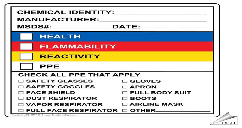 Những thành phần cần có trong MSDS